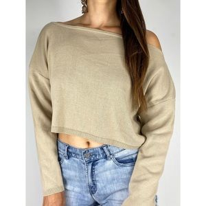 NASTY GAL Oatmeal Off The Shoulder Knit Top Sz S
